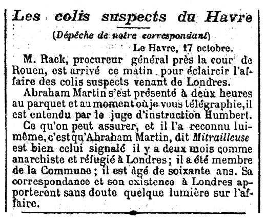 """Notícia sobre l'afer dels paquets de La Havre apareguda en el diari parisenc """"Le Petit Journal"""" del 18 d'octubre de 1894"""