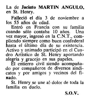 """Necrològica de Jacinto Martín Angulo apareguda en el periòdic tolosà """"Cenit"""" del 6 de desembrem de 1983"""