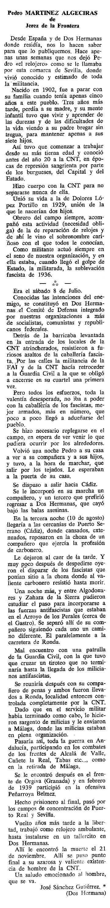 "Necrològica de Pedro Martínez Algeciras apareguda en el periòdic tolosà ""Cenit"" del 18 d'abril de 1989"