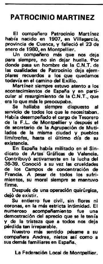 """Necrològica de Patrocinio Martínez Armero apareguda en el periòdic tolosà """"Espoir"""" del 25 de maig de 1980"""