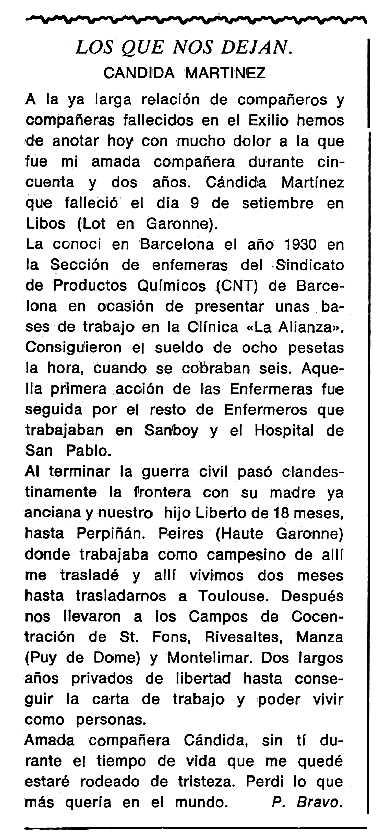 """Necrològica de Cándida Martínez González apareguda en el periòdic tolosà """"Cenit"""" del 19 de gener de 1988"""
