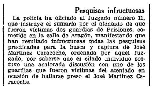 """Notícia de la persecució de José Martínez Caracoche apareguda en el diari barceloní """"La Vanguardia"""" de l'1 de desembre de 1935"""