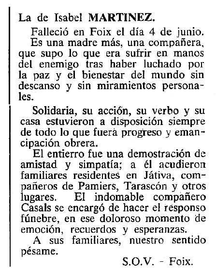 "Necrològica d'Isabel Martínez Cuenca apareguda en el periòdic tolosà ""Cenit"" del 10 de juliol de 1984"