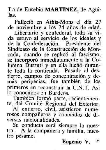 """Necrològica d'Eusebio Martínez Muñoz apareguda en el periòdic tolosà """"Cenit"""" del 20 de desembre de 1983"""
