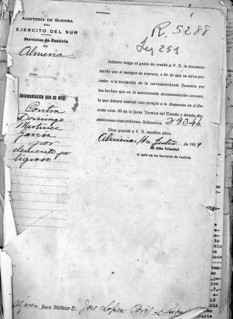 "Portada del Sumari 28.344/39 seguit contra Domingo Martínez García por ""element perillós"""