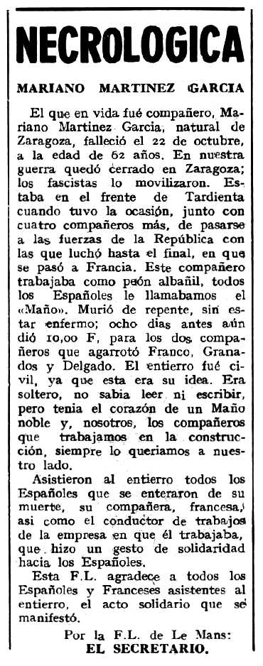 """Necrològica de Mariano Martínez García apareguda en el periòdic tolosà """"Espoir"""" del 17 de novembre de 1963"""