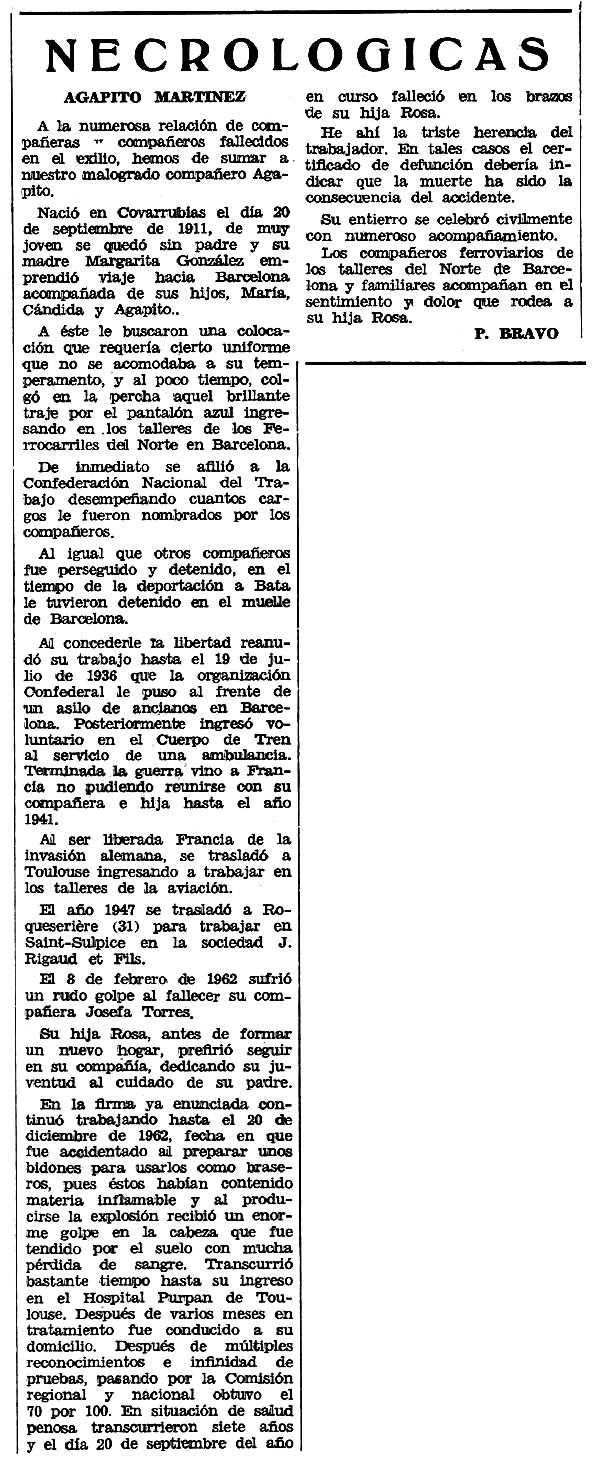 "Necrològica d'Agapito Martínez González apareguda en el periòdic tolosà ""Espoir"" del 4 de gener de 1970"