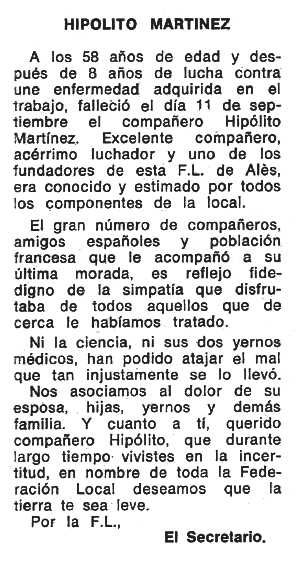 "Necrològica d'Hipólito Martínez López apareguda en el periòdic tolosà ""Espoir"" del 10 de novembre de 1974"