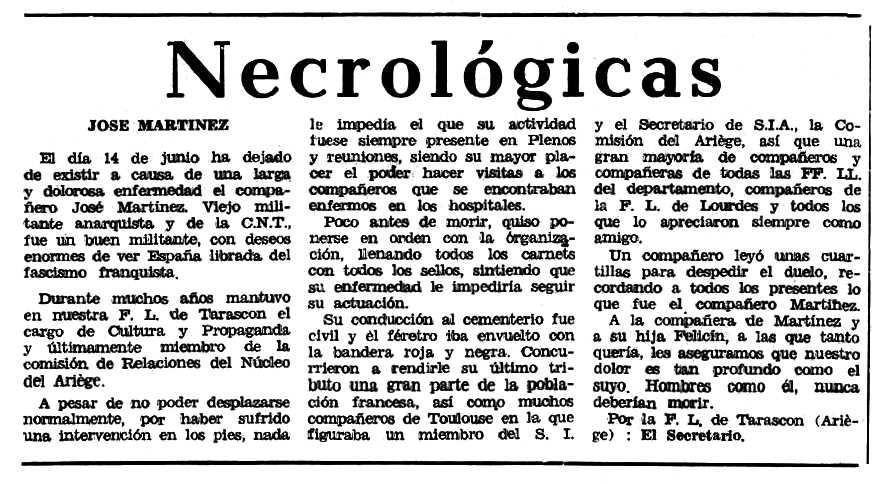 """Necrològica de José Martínez Gracia apareguda en el periòdic tolosà """"Espoir"""" del 13 de setembre de 1970"""