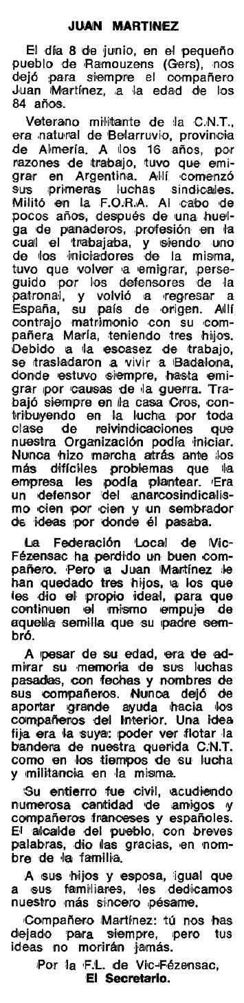 """Necrològica de Juan Martínez Cabrera apareguda en el periòdic tolosà """"Espoir"""" del 24 de juliol de 1978"""