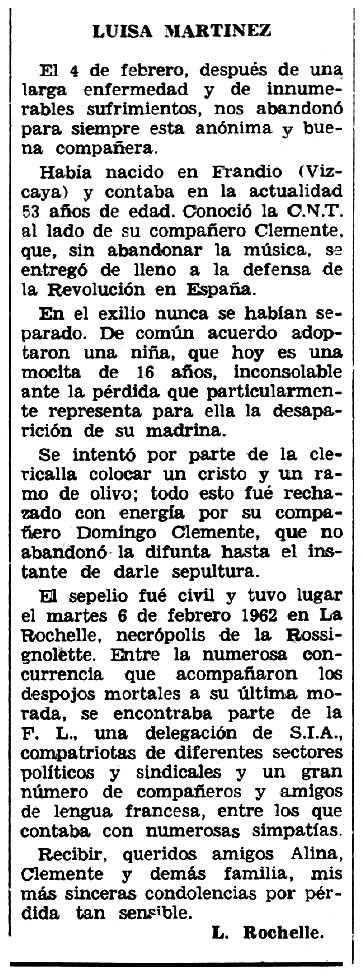 """Necrològica de Luisa Martínez Ruiz apareguda en el periòdic tolosà """"Espoir"""" del 25 de febrer de 1962"""