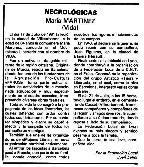 """Necrològica de María Martínez apareguda en el periòdic tolosà """"Espoir"""" del 20 de setembre de 1981"""
