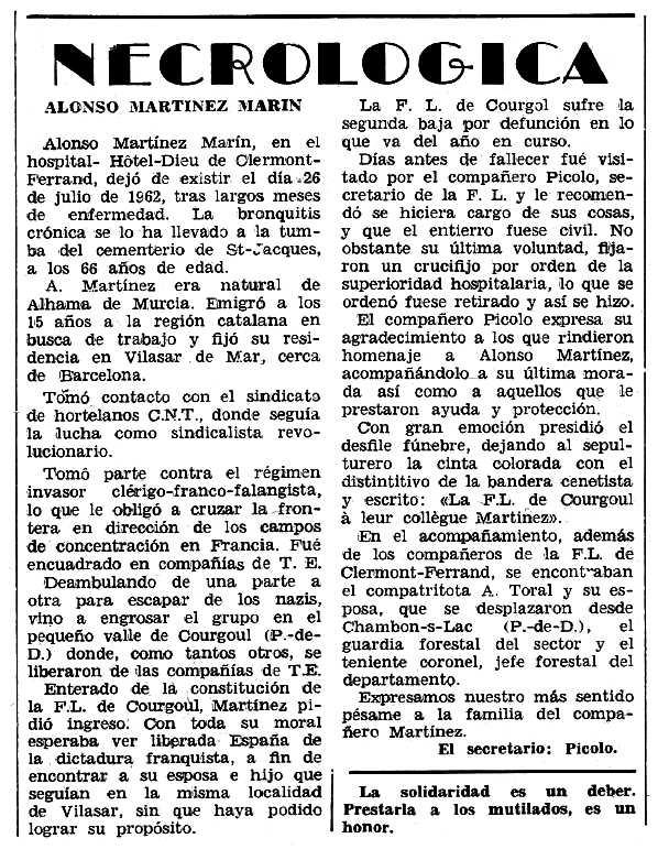 "Necrològica d'Alonso Martínez-Marín Lajarín apareguda en el periòdic tolosà ""Espoir"" de l'11 de novembre de 1962"