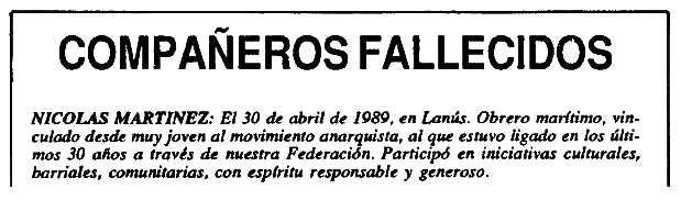 """Nota necrològica de Nicolás Martínez apareguda en el periòdic de Buenos Aires """"El Libertario"""" de març-abril de 1990"""