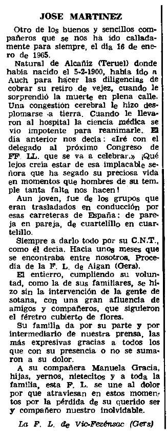 "Necrològica de José Martínez Pérez apareguda en el periòdic parisenc ""Le Combat Syndicaliste"" de l'11 de febrer de 1965"