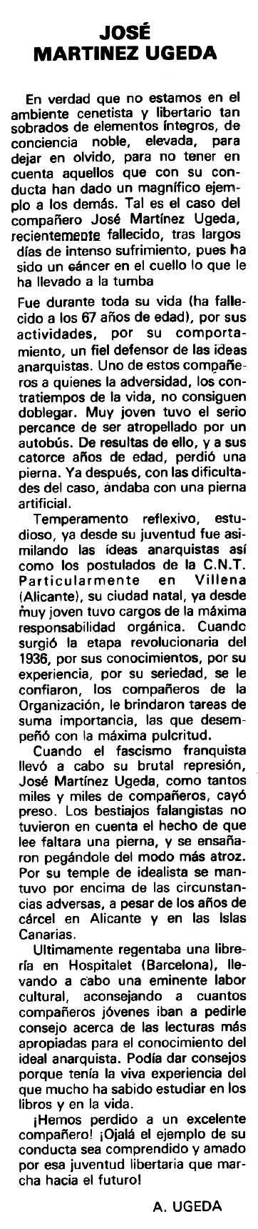 """Necrològica de José Martínez Ugeda apareguda en el periòdic tolosà """"Cenit"""" del 8 de febrer de 1981"""