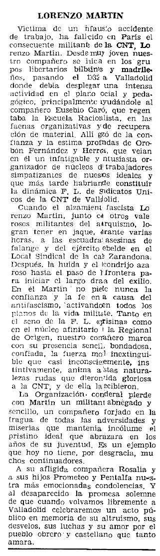 """Necrològica de Lorenzo Martín Herrero apareguda en el periòdic parisenc """"Le Combat Syndicaliste"""" del 9 de gener de 1964"""