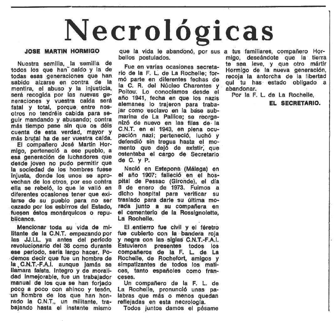 """Necrològica de José Martín Hormigo apareguda en el periòdic tolosà """"Espoir"""" del 23 de setembre de 1973"""