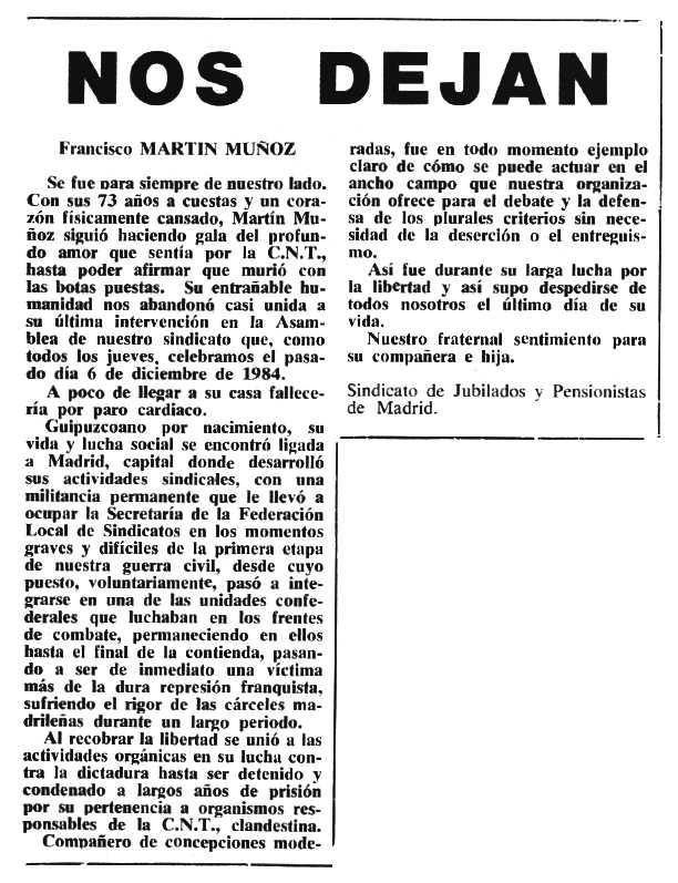 """Necrològica de Francisco Martín Muñoz apareguda en el periòdic tolosà """"Cenit"""" del 5 de febrer de 1985"""