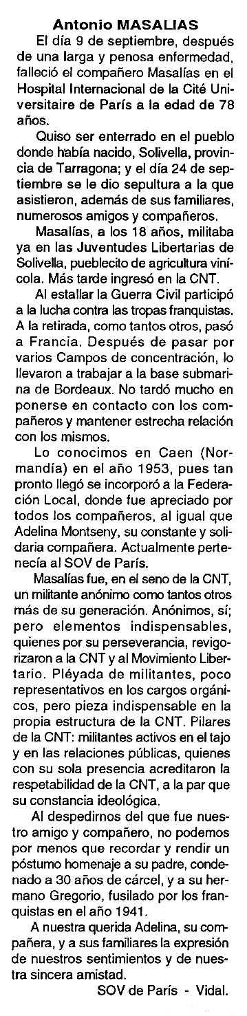 """Necrològica d'Antoni Masalias Torres apareguda en el periòdic tolosà """"Cenit"""" del 16 de novembre de 1993"""