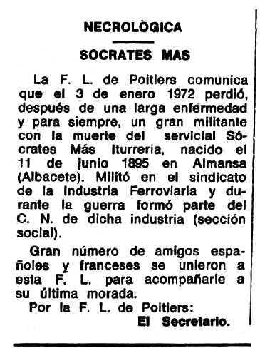 """Necrològica de Sócrates Mas Iturrería apareguda en el periòdic tolosà """"Espoir"""" del 19 de març de 1972"""