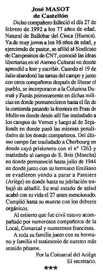 "Necrològica de José Masot Castillón apareguda en el periòdic tolosà ""Cenit"" del 14 d'abril de 1992"