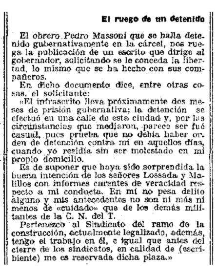 """Notícia sobre la detenció de Pere Massoni apareguda en el diari barceloní """"La Vanguardia"""" de l'1 de febrer de 1924"""