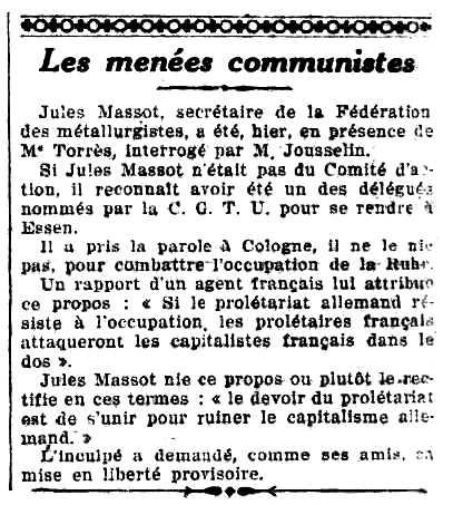 """Notícia de la detenció de Jules Massot apareguda en el diari parisenc """"La Lanterne"""" del 3 de febrer de 1923"""