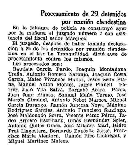 """Noticia del procesamiento de Mateo Vivancos Muñoz, y de otros compañeros, aparecida en """"La Vanguardia"""" (12 de enero de 1934)"""
