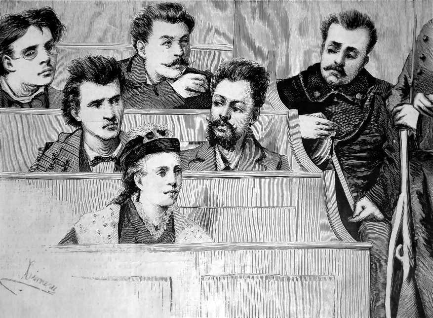 Una escena del «Procés de Florència» als internacionals, segons Ettore Ximenes, publicat en «L'Ilustrazione Italiana» de l'11 de gener de 1880. D'esquerra a dreta i de dalt a baix: Florido Matteucci, Francesco Natta, Dante Marzoli, Giuseppe Gomez i Anna Kulisciov