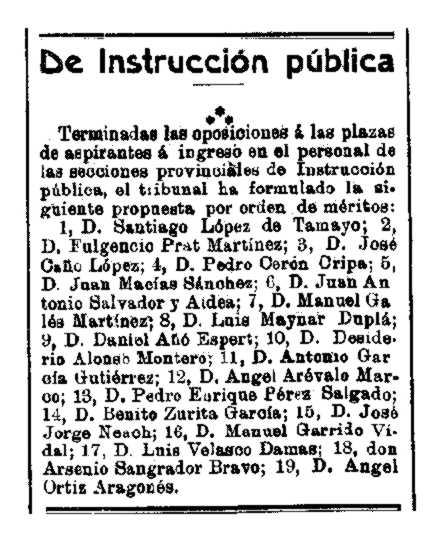 """Luis Maynar Duplá aprova les oposicions (""""El Siglo Futuro"""". Madrid, 8 de juny de 1912)"""
