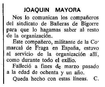 """Necrològica de Joaquín Mayora Castán apareguda en el periòdic tolosà """"Cenit"""" del 6 de maig de 1986"""