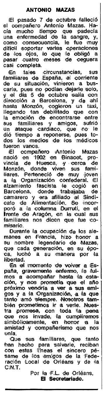 """Necrològica d'Antonio Mazas Berdala apareguda en el periòdic tolosà """"Espoir"""" del 4 de desembre de 1978"""