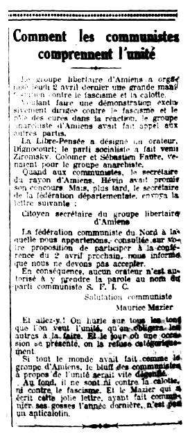 """Nota crítica contra Maurice Mazier publicada en el periòdic parisenc """"Le Libertaire"""" del 4 d'abril de 1925"""