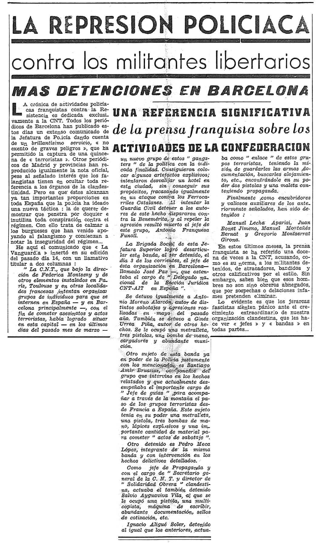 """Notícia de la detenció de Pedro Meca López i d'altres companys apareguda en el periòdic parisenc """"Solidaridad Obrera"""" del 3 de juny de 1950"""