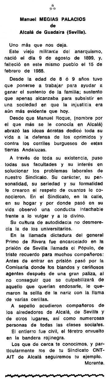 """Necrològica de Manuel Mejías Palacios apareguda en el periòdic tolosà """"Cenit"""" del 31 de maig de 1988"""