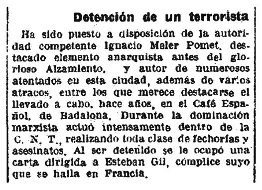 """Notícia de la detenció d'Ignasi Meler Pomet a pareguda en el diari barceloní """"La Vanguardia"""" del 26 de maigde 1940"""