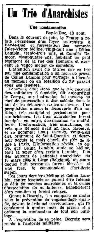 """Notícia de la persecució de Jules Méline apareguda en el diari parisenc """"Le Rappel"""" del 15 d'agost de 1909"""