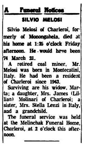 """Necrològia de Silvio Melosi apareguda en el diari de Monongahela """"The Daily Republican"""" del 10 de febrer de 1959"""