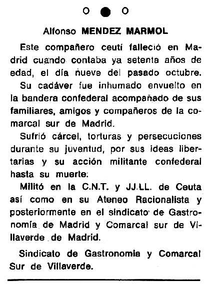 """Necrològica d'Afonso Méndez Mármol apareguda en el periòdic tolosà """"Cenit"""" del 26 de novembre de 1985"""