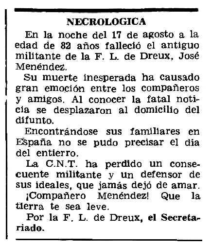 """Necrològica de José Menéndez Díaz apareguda en el periòdic parisenc """"Le Combat Syndicaliste"""" del 4 de setembre de 1975"""