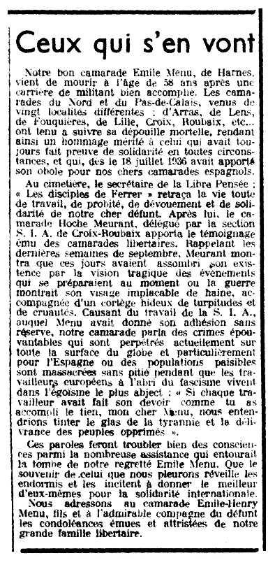 """Necrològica d'Émile Menu apareguda en el periòdic parisenc """"Le Libertaire"""" del 27 d'octubre de 1938"""