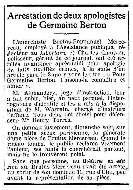 """Notícia de la detenció de Brutus Mercereau publicada en el diari parisenc """"Le Matin"""" del 27 de març de 1923"""