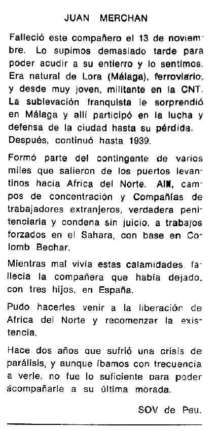 """Necrològica de Juan Merchán Gómez apareguda en el periòdic tolosà """"Cenit"""" del 24 de febrer de 1987"""