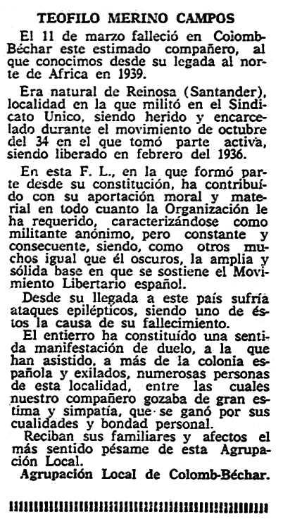 """Necrològica de Teófilo Merino Campos apareguda en el periòdic parisenc """"Solidaridad Obrera"""" del 3 d'abril de 1958"""