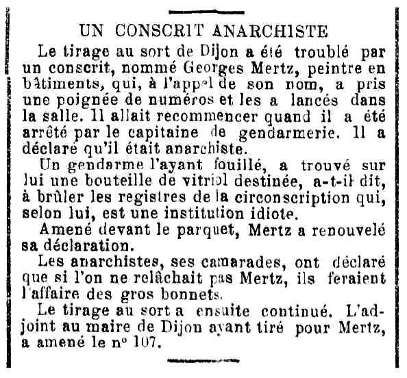 """Notícia de la detenció de Georges Mertz apareguda en el setmanari """"Journal de Fourmies"""" del 30 de gener de 1890"""