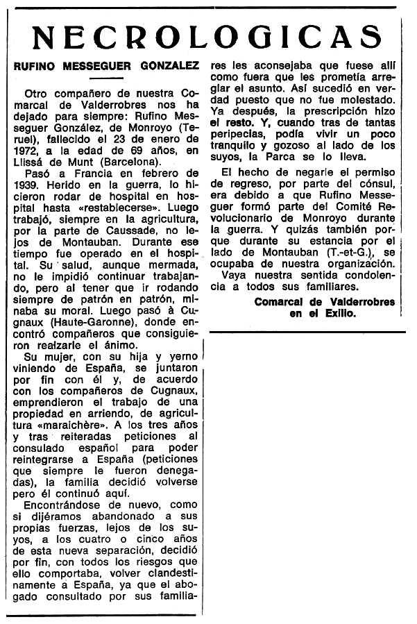 "Necrològica de Rufino Meseguer González apareguda en el periòdic tolosà ""Espoir"" del 29 d'octubre de 1972"