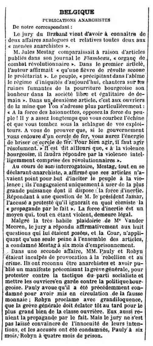 """Notícia de la condemna de Jules Mestag apareguda en el diari parisenc """"Journal des Débats"""" del 4 de febrer de 1903"""