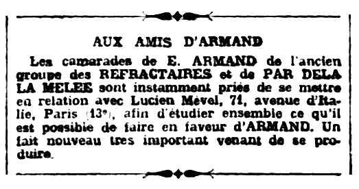 """Notícia sobre Lucien Mével apareguda en el periòdic parisenc """"Le Libertaire"""" del 23 de setembre de 1921"""