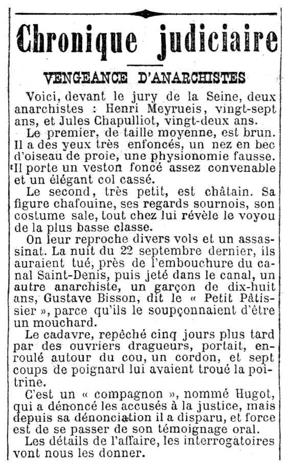 """Notícia del judici d'Henri Meyrueis apareguda en el diari parisenc """"Le Radical"""" del 25 de març de 1893"""
